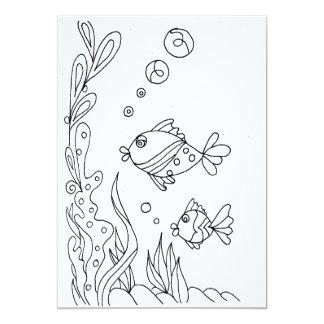 Tropical Fish Coloring Card 13 Cm X 18 Cm Invitation Card