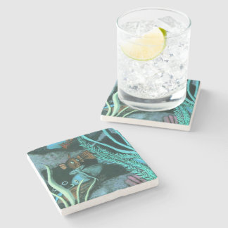 Tropical Fish Coral Reef Painting Stone Coaster