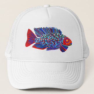 Tropical fish design white trucker hat