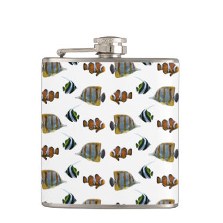 Tropical Fish Frenzy Hip Flask (choose colour)