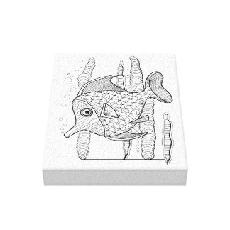 Tropical Fish Line Art Design Canvas Print