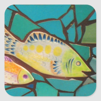 Tropical Fish Mosaic Square Sticker