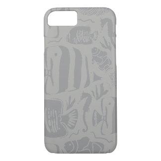 Tropical Fish Tank Illustration_Grey iPhone 8/7 Case