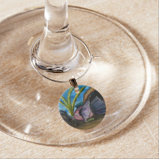 Tropical Fish Watercolor Painting Wine Charm