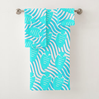Tropical fishes bath towel set
