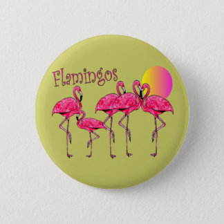 Tropical Flamingo Art Gifts 6 Cm Round Badge