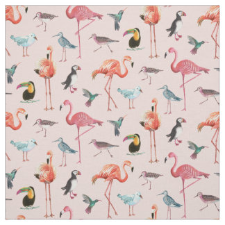 Tropical Flamingo Birds | Fabric