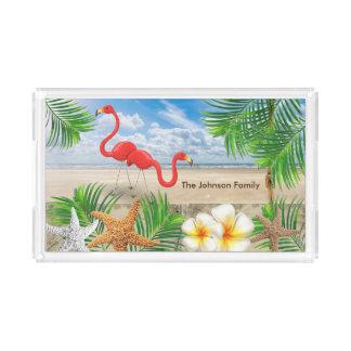 Tropical Flamingo Birds in Paradise Acrylic Tray