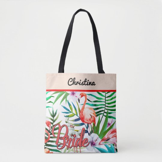 Tropical Flamingo Bride Custom Tote Bag