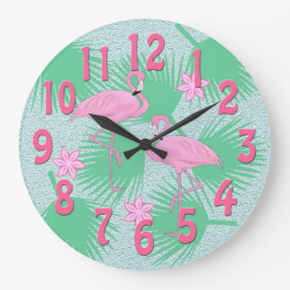 tropical flamingo clock
