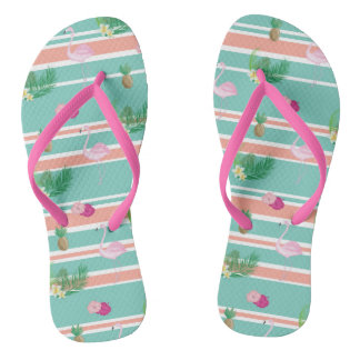 Tropical Flamingo Flip Flops
