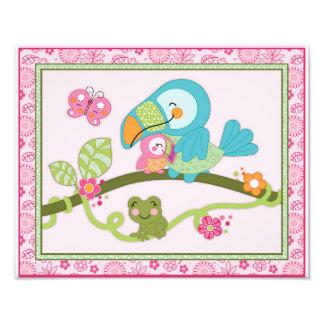 Tropical Flamingo Garden -Toucan Nursery Art Print Art Photo