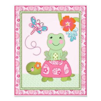 Tropical Flamingo Garden Turtle and Frog Art Print Photo Art
