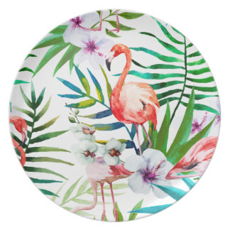 Tropical Flamingo Hibiscus Melamine Plate