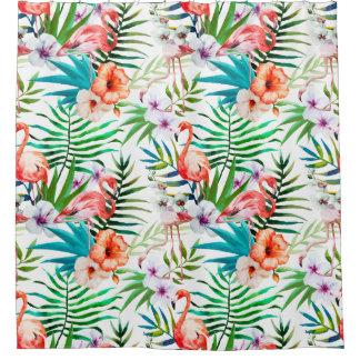 Tropical Flamingo Hibiscus Shower Curtain