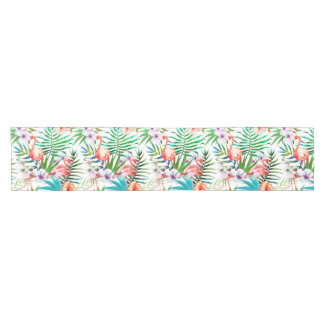 Tropical Flamingo Hibiscus Table Runner