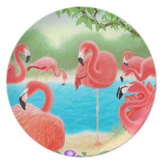 Tropical Flamingo Lagoon Plate