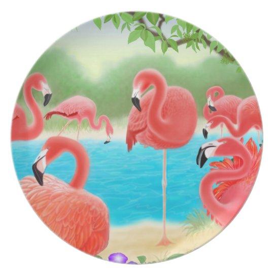 Tropical Flamingo Lagoon Plate