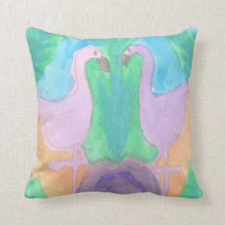 Tropical Flamingo Pastel Pattern Throw Pillow