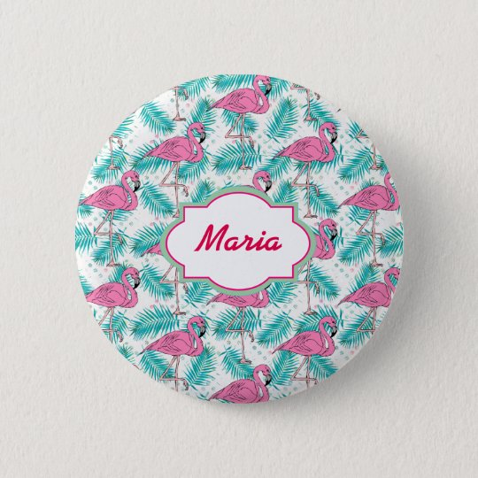 Tropical Flamingo Pattern. 6 Cm Round Badge