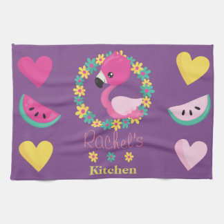 Tropical Flamingo purple pink and yellow hearts Tea Towel