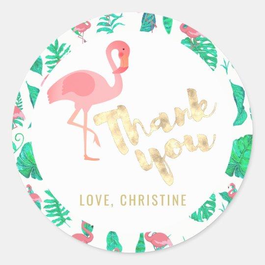 tropical flamingo thank you classic round sticker