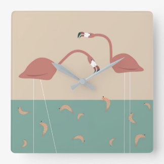 Tropical flamingos and shrimps - vintage colors square wall clock