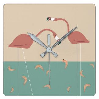 Tropical flamingos and shrimps - vintage colors wall clocks