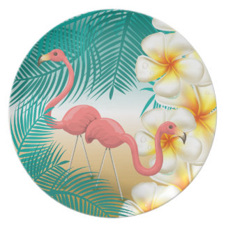 Tropical Flamingos Beach Paradise Plate