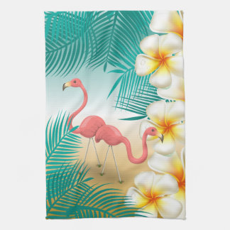 Tropical Flamingos Beach Paradise Tea Towel