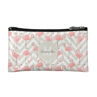 Tropical Flamingos Pattern with Monogram Makeup Bag