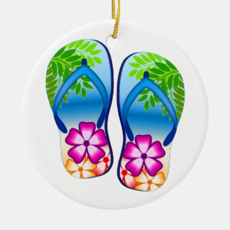 Tropical Flip Flops Christmas Ornament