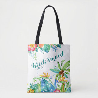 Tropical Floral 2-sided Personalized Bridesmaid Tote Bag