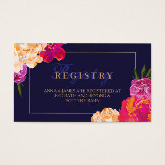 Tropical Floral and Navy Wedding Registry Card
