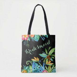 Tropical Floral Black 2-sided Custom Bridesmaid Tote Bag