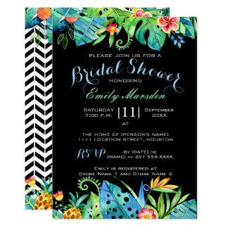 Tropical Floral Black Bridal Shower Invitation