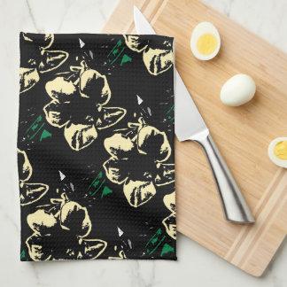 Tropical floral black, cream, green tea towel