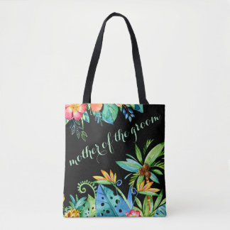 Tropical Floral Black Mother of the Groom Tote Bag