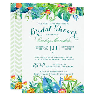 Tropical Floral Bridal Shower Invitation