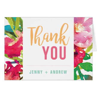 Tropical Floral Bridal Shower Thank You Card