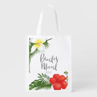 Tropical Floral Bridesmaid ID475 Reusable Grocery Bag