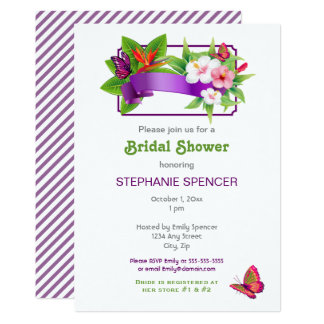 Tropical Floral Butterfly Bridal Shower Card