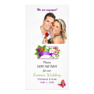 Tropical Floral Butterfly Save The Date Custom Photo Card