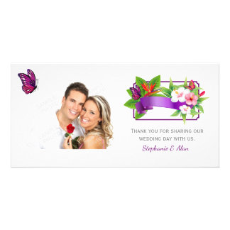 Tropical Floral Butterfly Wedding Customised Photo Card