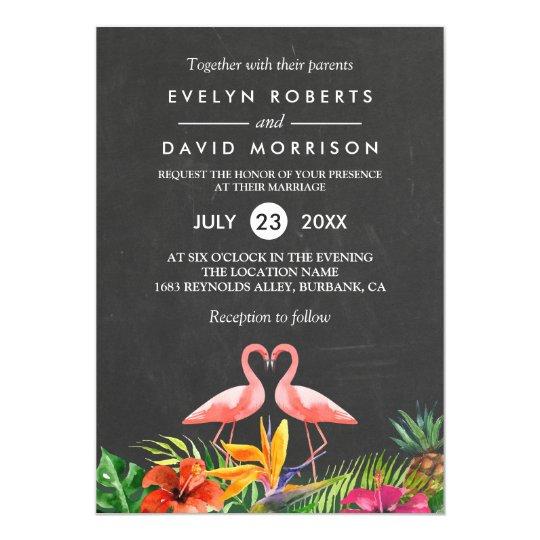 Tropical Floral Chalkboard Flamingo Formal Wedding Card