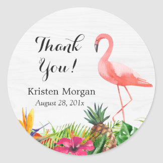 Tropical Floral Flamingo Bridal Shower Favor Tag Round Sticker