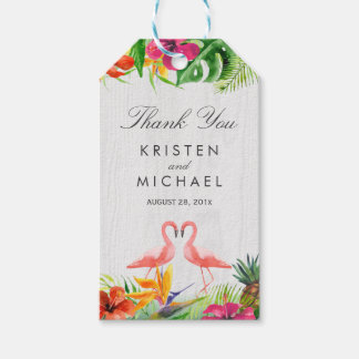 Tropical Floral Flamingo Couple Luau Thank You Gift Tags