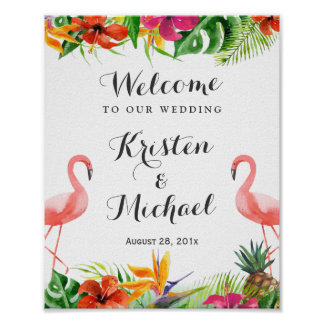 Tropical Floral Flamingo Couple Luau Wedding Sign