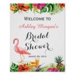 Tropical Floral Flamingo Luau Bridal Shower Sign