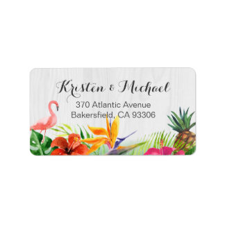 Tropical Floral Flamingo Pineapple Rustic Wood Address Label